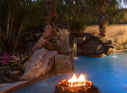 View of the Fire Pit and Waterfall Grotto from the Spa