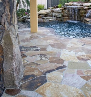 Flagstone deck and rock wall