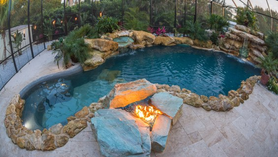 Overview of Fire pit and pool