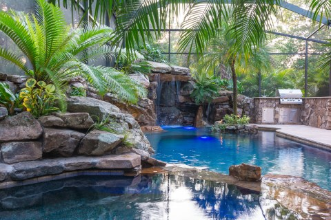 Spa, Grotto and Outdoor Kitchen