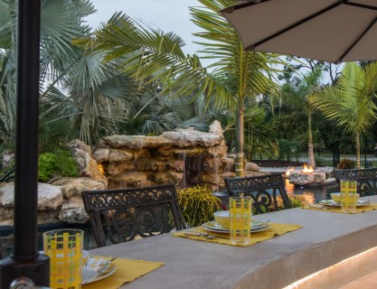 Bar Outdoor Kitchen Lagoon Pool Fire Pits