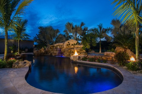 Natural Fire pits and spa pool waterfalls and stone waterfalls grotto
