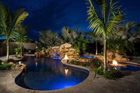 Sundeck wading area stone Fire pits and natural spa in lagoon pool