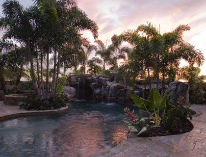 Sunset at a natural lagoon pool