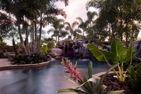 Tropical landscaping at sunset in a natural lagoon pool