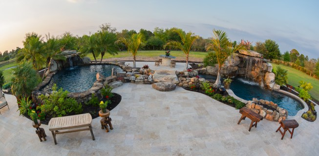 Aerial view of Outdoor Living Space with two Lagoon Pools