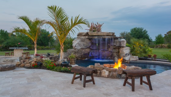 Fire Pit Seating at Main Pool
