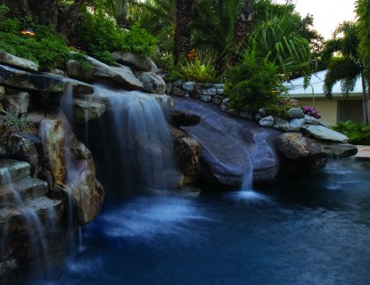 Lagoon Pool With Slide Island Planters Large Grotto And