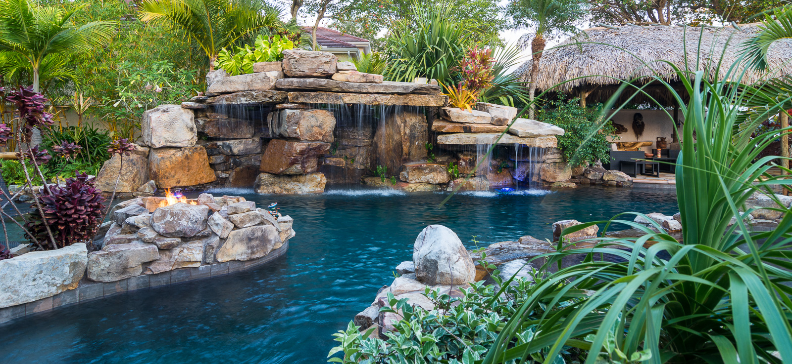 Custom Rock Waterfall Pool Grotto Spa Natural Stream