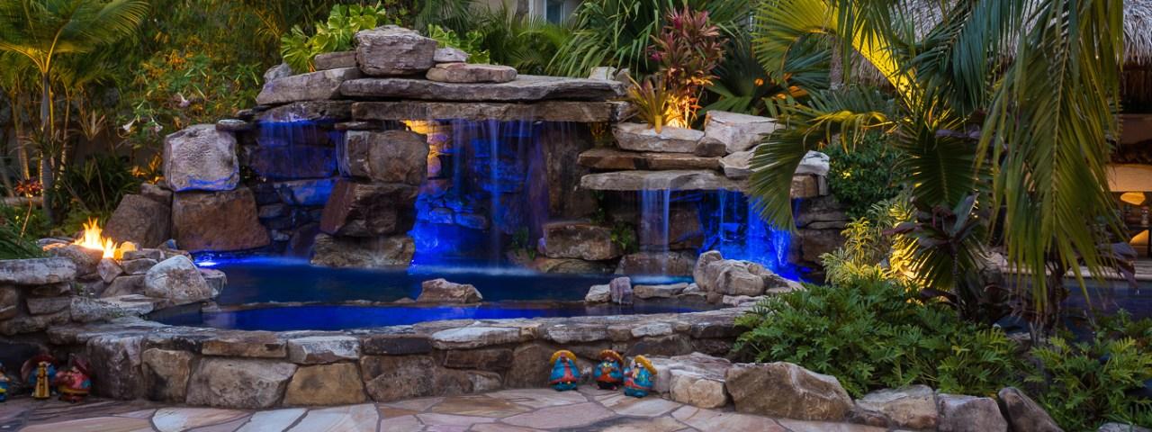 panorama of Luxury Natural Rock Waterfall Pool siesta key
