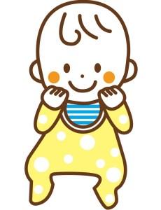よだれかけをかけている赤ちゃんのイラスト