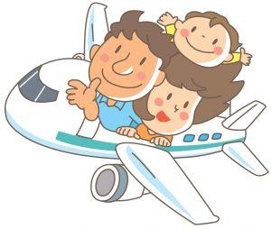 親子3人で飛行機旅行のイラスト