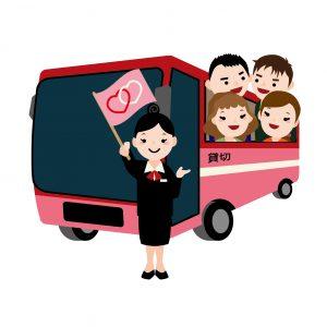 赤いバスに乗ってバスツアーをする人たちのイラスト