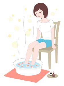 足湯する女性のイラスト