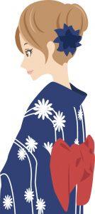 紺地の浴衣を着る女性のイラスト