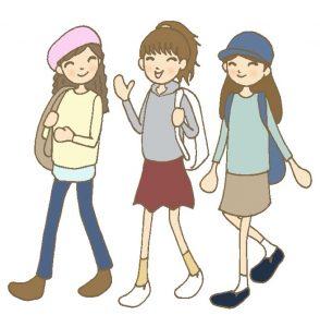 旅行をする女の子3人のイラスト