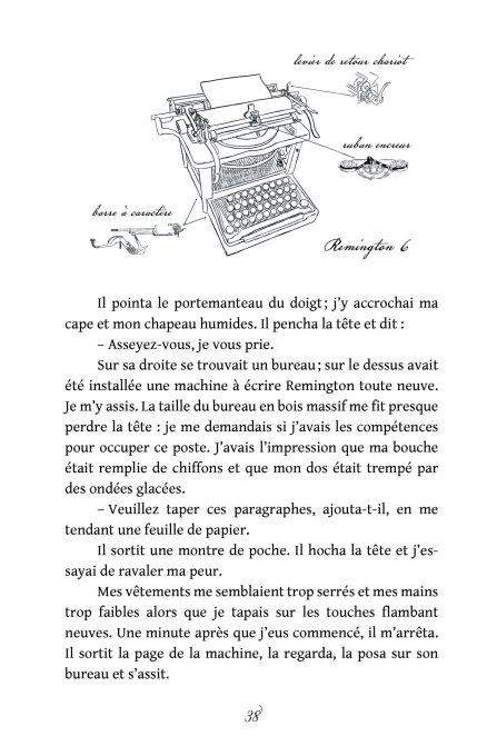 Page avec un schéma de machine à écrire