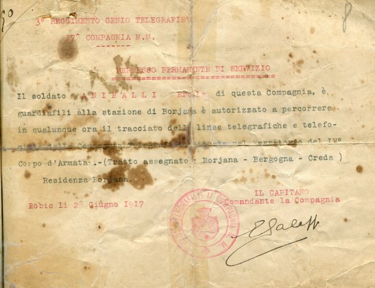 Permesso permanente di servizio per il guardiafili Ercole Aniballi, giugno 1917