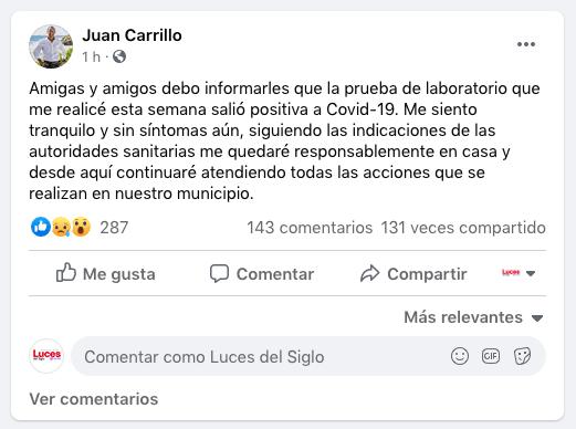 Primer alcalde en Quintana Roo da positivo a Covid-19