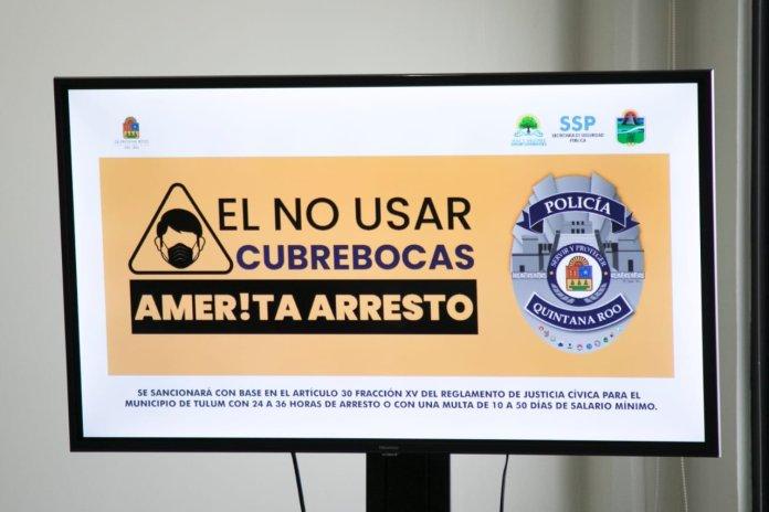 El domingo inician arrestos en Tulum por no usar cubrebocas