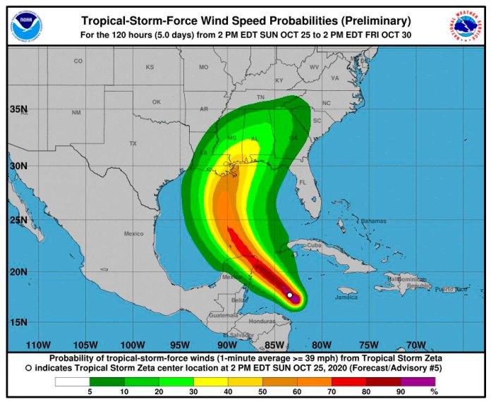 Impactaría 'Zeta' a norte de Quintana Roo como huracán categoría 1