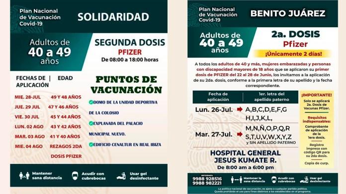 Anuncian aplicación de segunda dosis en cuatro municipios