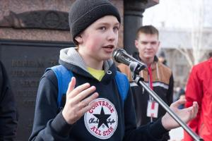 Schoolboy at protest in Tomsk