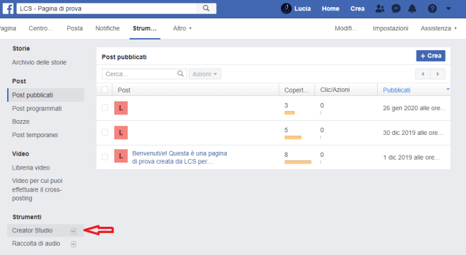 Come usare Creator Studio Facebook e Instagram