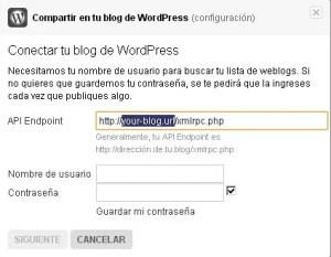 Conectar Flickr y WordPress | Datos de WordPress: En la url modifica solo la parte seleccionada