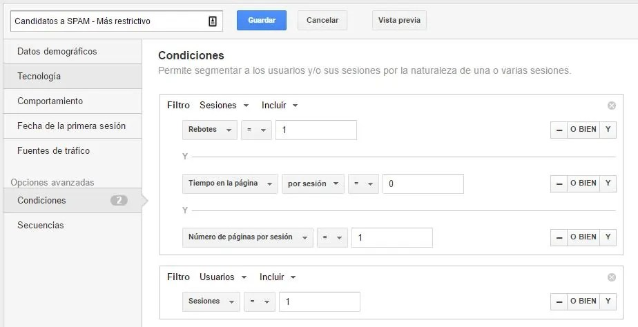 Lucia Marin: Segmento de Google Analytics para detectar SPAM Referral