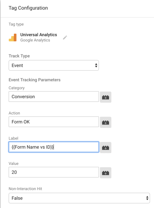 etiqueta contact form 7 tag manager lookup table
