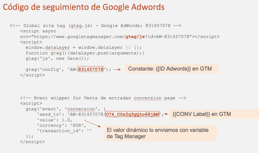Cómo sacar los parámetros para Google Tag Manager del código de Google Adwords