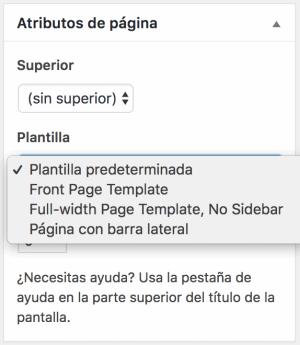 Atributos de Página WordPress Página con Barra lateral