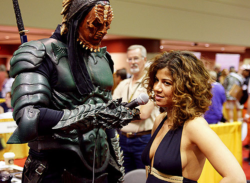 Luciana Carro being interviewed at MegaCon - not by Slacker and The Man, though (photo by Matthew Simantov, Orlando Sentinel)