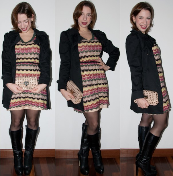 blog de moda look do dia como usar vestido Missoni trench coat bota clutch - blog de moda