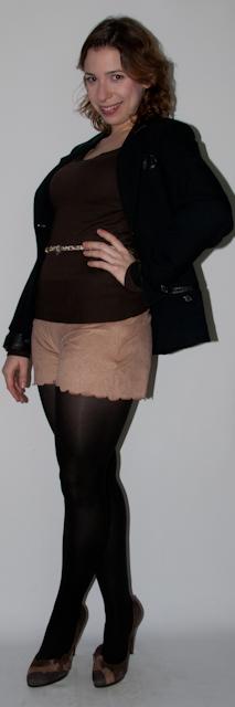 Look do dia: como usar short com meia-calça, preto com marrom. Blog de moda. short de camurça