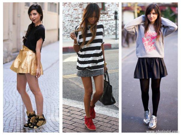 Dicas de moda sobre como usar tênis que compõem looks casuais - saia