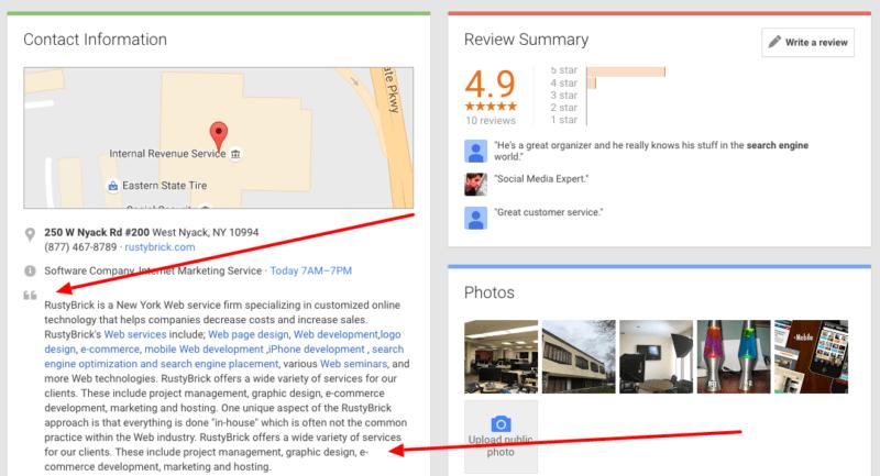 google meu negócio remove edição da descrição