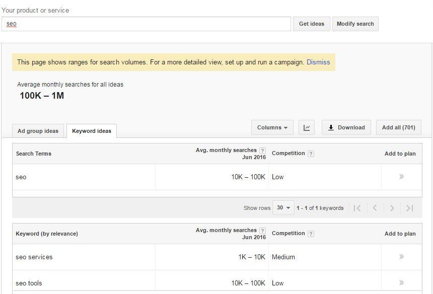 mudança no google planejador de palavra-chave