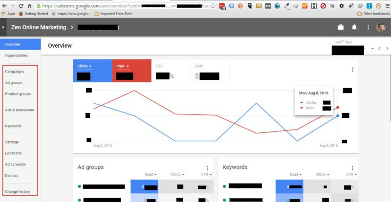 nova interface de usuário do google adwords