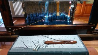 Jacquardgewebe auf dem Webstuhl - my jacquard weaving on the loom