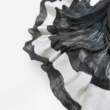 Crêpegewebe - gefächert, Seide, Wollcrêpe, Stahl, 0,30 x 2,10m