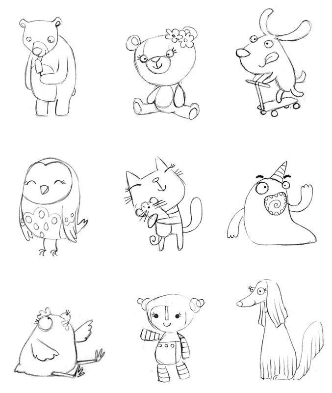 Bears, dogs, owl, cat, bird, robot and monster charcters - Personajes Osos, perros, lechuza, gato, pajaro, robot y monstruo