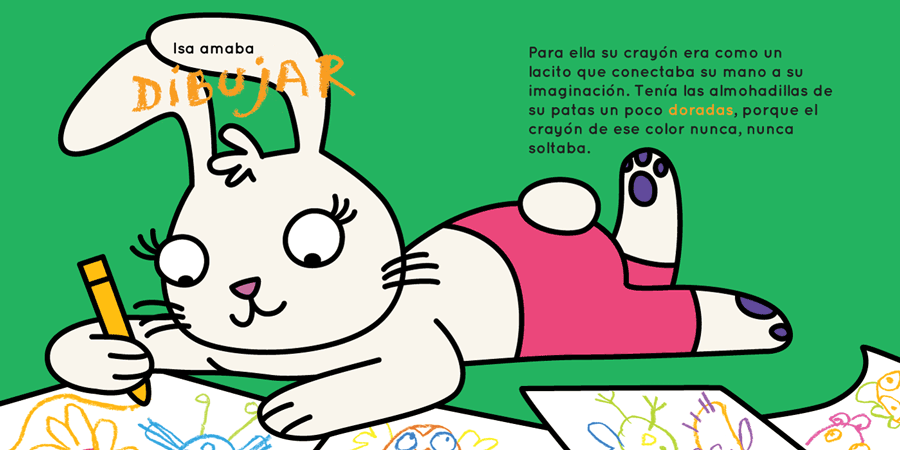 Maia the bunny is drawing on paper on the floor - la conejita Maia dibuja en papel sobre el piso