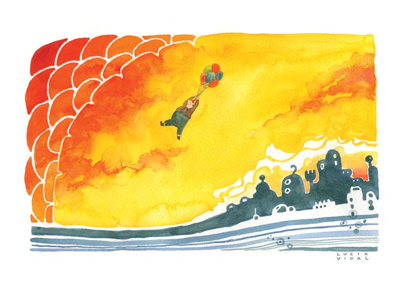 Man flying with balloons on a yellow sky - Hombre volando con globos sobre un cielo amarillo
