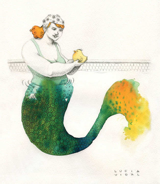 A heavy mermaid with a tiny duck in her hand in a swimming pool - Una sirena gorda sosteniendo un patito en sus manos dentro de una piscina