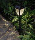 Grand Patio Black Lattice Plastic Solar Powered Stake Lamp with Tetragonal Lampshade for Path, Patio, Deck, Driveway and Garden Set of 2