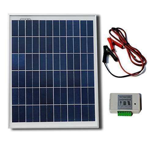ECO-WORTHY 20W 12V Solar System Kit : 20 Watt Polycrystalline Solar Panel & Battery Clips & 3A Charge Controller