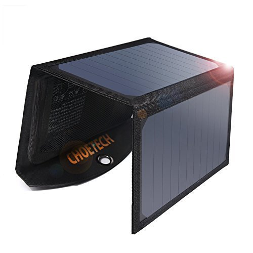 Solar Charger (Upgrade Version), CHOE 19W 2-Port Solar Phone Charger with Dual USB Port and Auto Detect Tech for Galaxy S7/S7 Edge, iPad Pro, iPhone 7/7 Plus/6S/6/6 Plus, Nexus 5X/6P and More