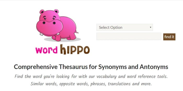 wordhippo to find alternative words for your text